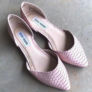 Steve Madden Leanna Pink Snakeskin D'Orsay Flats